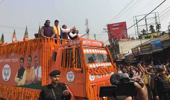 Rajnath Singhs Roadshow in Tripura