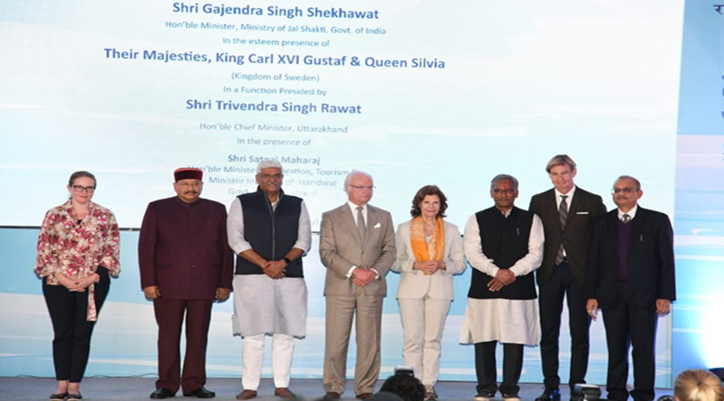 CM, Uttarakhand and Minister of Jal Shakti, GoI dedicate the Sarai Project in presence of King and Queen of Sweden, Minister of Jal Shakti, Chief Minister of Uttarakhand, NMCG, National Mission for Clean Ganga, Hybrid Annuity, nmcg completed India-s- first HAM project in sewerage sector at Sarai, Haridwar before scheduled time