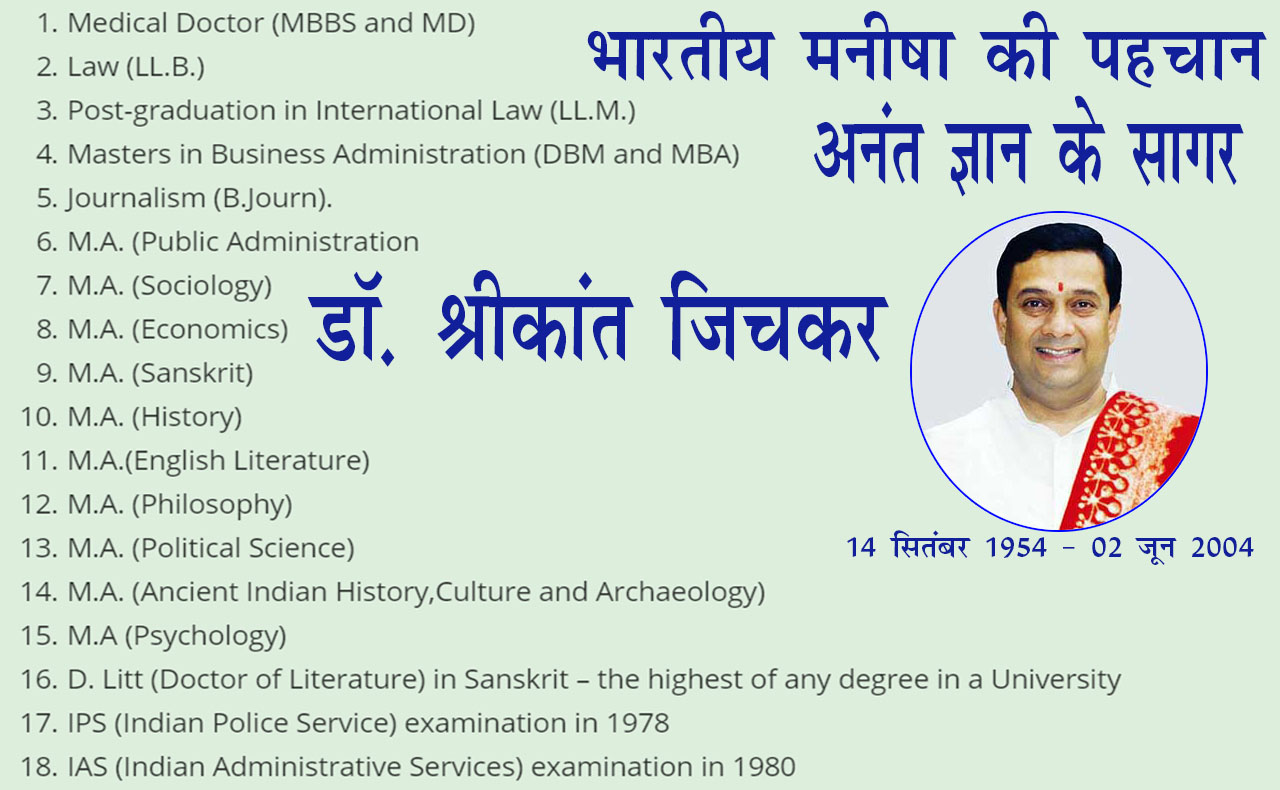 MBBS and MD, dr-shrikant-Jichkar- ocean of infinite knowledge, shrikant jichkar, degrees of shrikant, politician with 20 degrees,  Dr. Shrikant Jichkar, Indias Most Qualified Person, post-graduation in International Law (LL.M.),